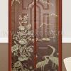 TJ-03 Штора антимоскитная на дверь на магнитах (коричневая, вышивка птицы) 100*210 см